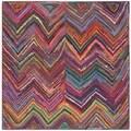 Safavieh Handmade Nantucket Pink/ Multi Cotton Rug (4' x 4' Square)