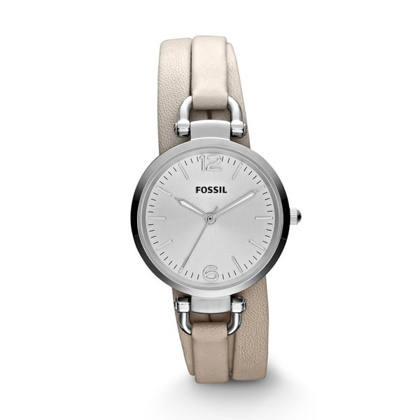 Fossil Women's 'Georgia' Leather Strap Silvertone Dial Watch