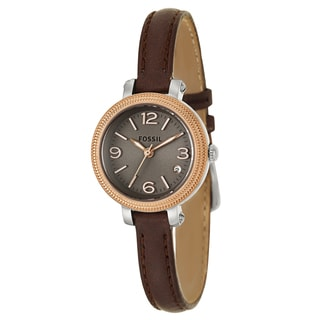 Fossil Women's 'Heather' Mini Brown Leather Strap Watch