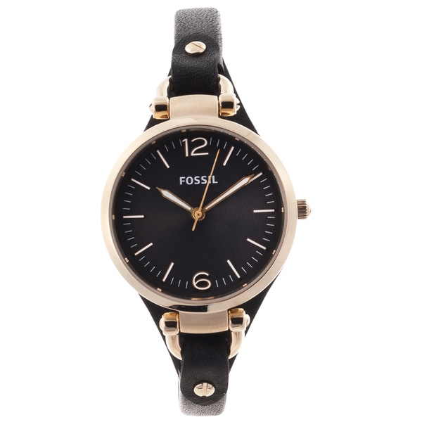 Fossil Women's 'Georgia' Black and Goldtone Leather Strap Watch