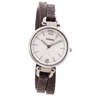 Fossil Women's 'Georgia' Brown Leather Strap Analog Watch