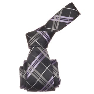 Republic Men's Charcoal/ Lavender Plaid Microfiber Neck Tie