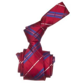 Republic Men's Red/ Blue Plaid Microfiber Neck Tie