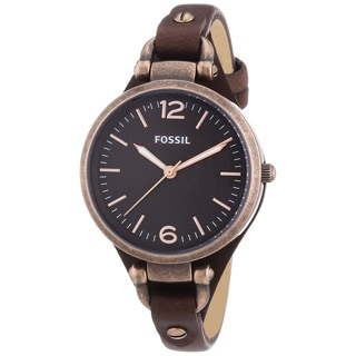 Fossil Women's 'Georgia' Brown Leather Strap Watch