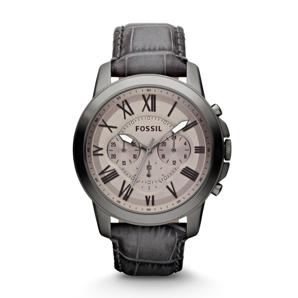 Fossil Men's 'Grant' Grey Leather Strap Chronograph Watch
