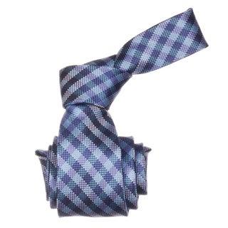 Republic Men's Blue Gingham Microfiber Neck Tie