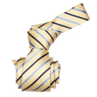 Republic Men's Yellow/ Blue Striped Microfiber Neck Tie