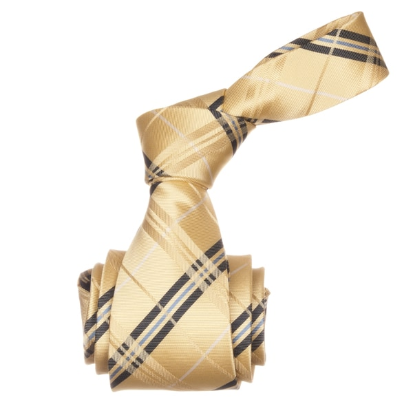 Republic Men's Yellow Plaid Microfiber Neck Tie