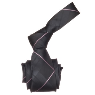 Republic Men's Charcoal/ Pink Plaid Microfiber Neck Tie