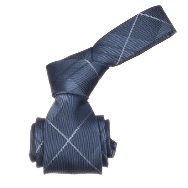Republic Men's Navy Blue Plaid Microfiber Neck Tie