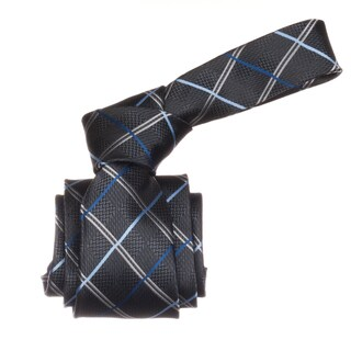 Republic Men's Grey/ Blue Plaid Microfiber Neck Tie