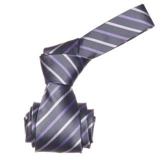 Republic Men&#39;s Grey/ Lavender Striped Microfiber Neck Tie