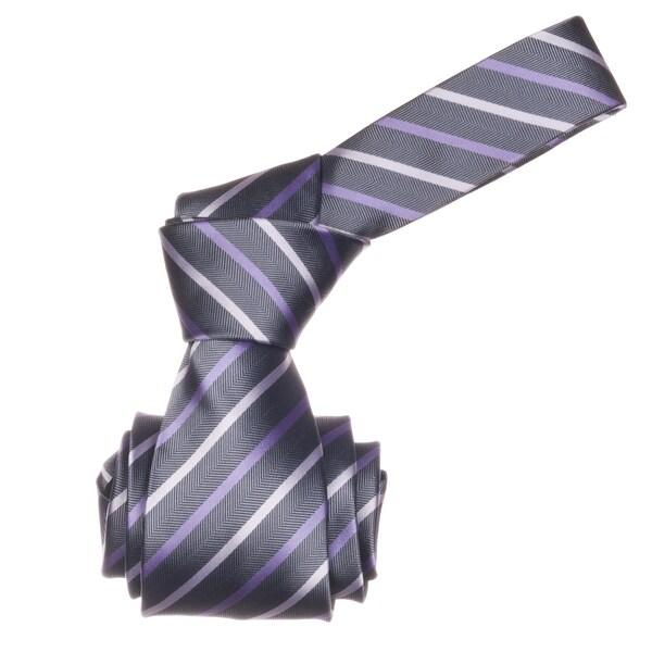 Republic Men's Grey/ Lavender Striped Microfiber Neck Tie