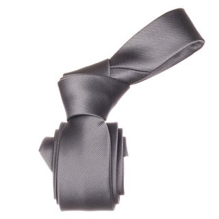 Republic Men&#39;s Solid Grey Microfiber Skinny Neck Tie