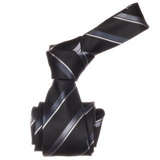 Republic Men's Black Striped Microfiber Neck Tie