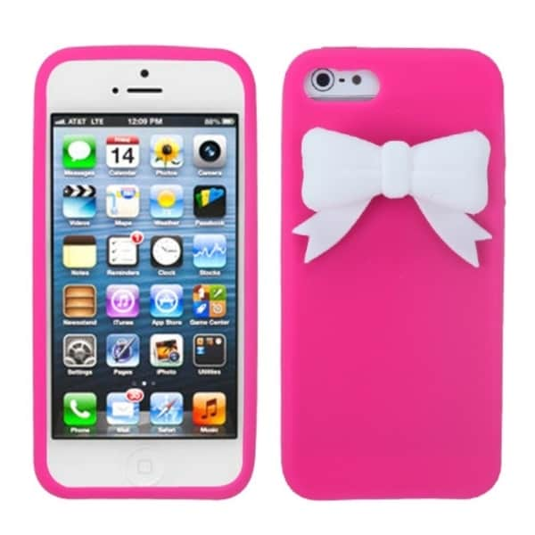 INSTEN Hot Pink/ White Bow Phone Case Cover for Apple iPhone 5