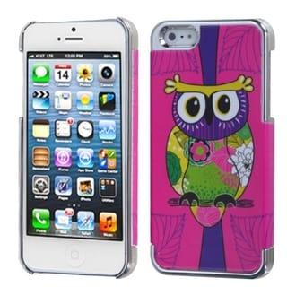INSTEN Pink Owl/ Silver Phone Case Cover for Apple iPhone 5