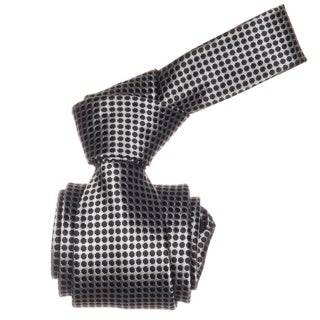 Republic Men's Black and Silver Dotted Microfiber Neck Tie