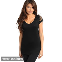Stanzino Women's Lace-black Cap Sleeve Top