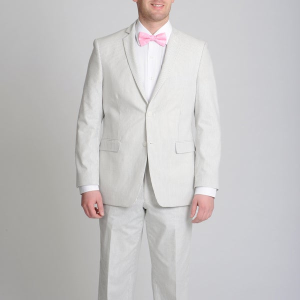 Adolfo Men's Grey/ White Seersucker Suit