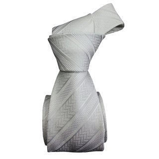 Dmitry Men's White Patterned Italian Silk Tie
