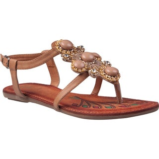 Refresh by Beston Women's 'Abina-01' Camel Jeweled Gladiator Sandals