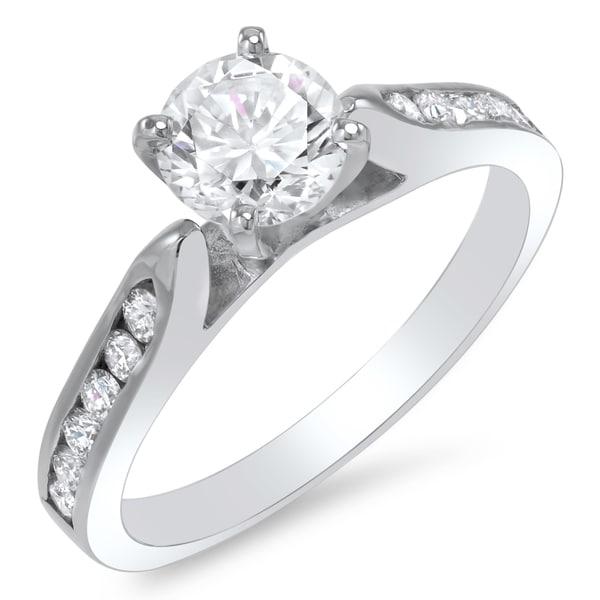 14k White Gold 1 1/3ct TDW Certified Diamond Engagement Ring (G-H, SI1-SI2)