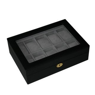Black Leatherette Watch Collection Box