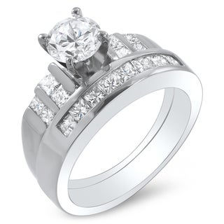 14k White Gold 1 3/4ct TDW Certified Diamond Bridal Ring Set (G-H, SI1-SI2)