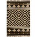 Hand-woven Kilim Beige Wool/ Jute Rug (5' x 8')