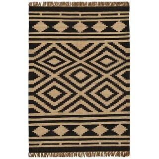Hand-woven Kilim Beige Wool/ Jute Rug (6' x 9')