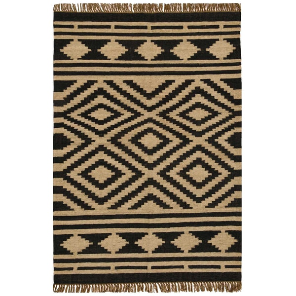 Hand-woven Kilim Beige Wool/ Jute Rug (8' x 11')