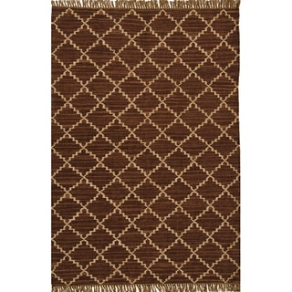 Hand-woven Kilim Brown Wool/ Jute Rug (5' x 8')