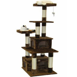 Go Pet Club Brown Cat Tree House Scratcher 67-inch Condo