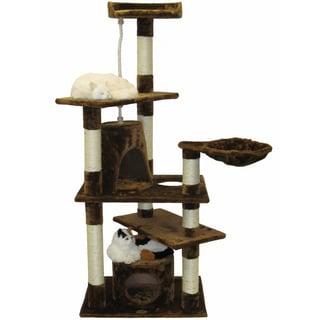 Go Pet Club Brown Cat Tree House Scratch 62-inch Condo