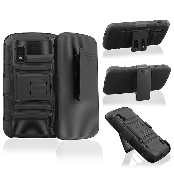 BasAcc Black Hybrid Armor Case with Stand for LG Nexus 4 E960