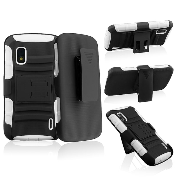 BasAcc White/ Black Hybrid Armor Case with Stand for LG Nexus 4 E960