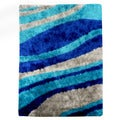 Hand-tufted Flash Shaggy-653 Abstract Wave Blue Shag Rug (5' x 7')