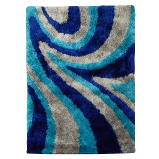 Hand-tufted Flash Shaggy-654 Abstract Wave Blue Shag Rug (5' x 7')