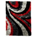 Hand-tufted Flash Shaggy-654 Abstract Wave Red Shag Rug (5' x 7')
