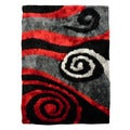Hand-tufted Flash Shaggy-655 Abstract Swirl Red Shag Rug (5' x 7')