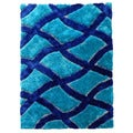 Hand-tufted Flash Shaggy-657 Geometric Crosshatched Blue Shag Rug (5' x 7')