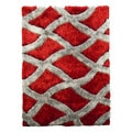 Hand-tufted Flash Shaggy-657 Geometric Crosshatched Red Shag Rug (5' x 7')