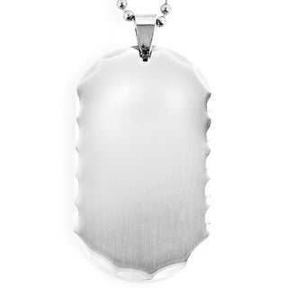 Stainless Steel Faceted Edge Dog Tag Necklace