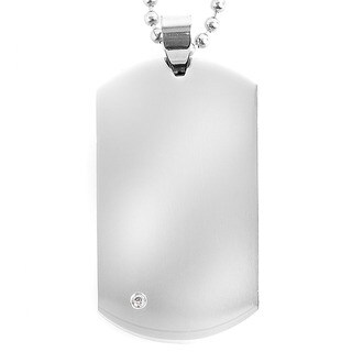 Stainless Steel Cubic Zirconia Corner Dog Tag Necklace