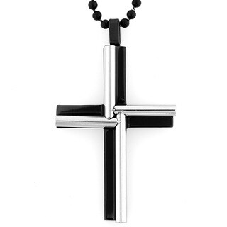 Black-plated Stainless Steel Cylinder Windmill Cross Necklace