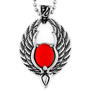 Stainless Steel Red Resin Orb Phoenix Wing Necklace