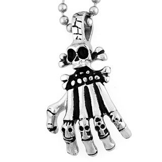 Stainless Steel Skull and Skeleton Hand Necklace