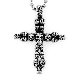 Stainless Steel Clustered Skull Cross Necklace