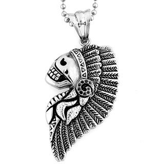 Stainless Steel Feathered Chief Headdress Skull Necklace